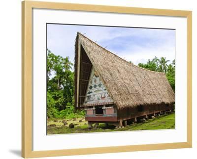Men's Meeting House at Belau National Museum Koror, Republic of Palau, Pacific-Nico Tondini-Framed Photographic Print