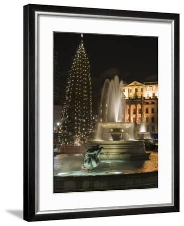 Christmas Tree and Fountains in Trafalgar Square at Night, London-Hazel Stuart-Framed Photographic Print