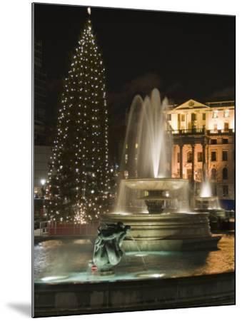 Christmas Tree and Fountains in Trafalgar Square at Night, London-Hazel Stuart-Mounted Photographic Print