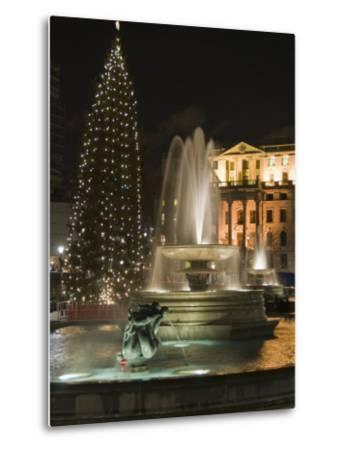 Christmas Tree and Fountains in Trafalgar Square at Night, London-Hazel Stuart-Metal Print