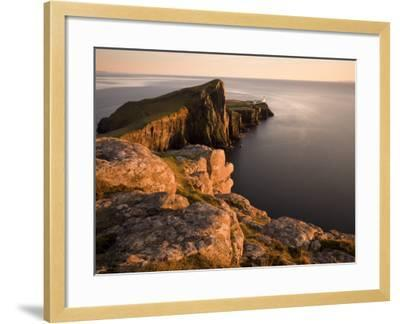 Neist Point and Lighthouse Bathed in Evening Light, Isle of Skye, Highland-Lee Frost-Framed Photographic Print