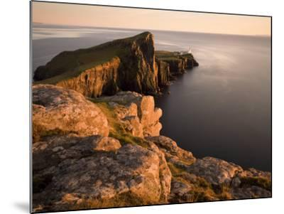 Neist Point and Lighthouse Bathed in Evening Light, Isle of Skye, Highland-Lee Frost-Mounted Photographic Print