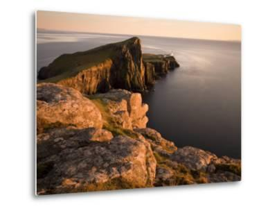 Neist Point and Lighthouse Bathed in Evening Light, Isle of Skye, Highland-Lee Frost-Metal Print