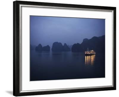 Paddle Steamer at Anchor, Dawn, Halong Bay, Vietnam, Indochina, Southeast Asia, Asia-Purcell-Holmes-Framed Photographic Print