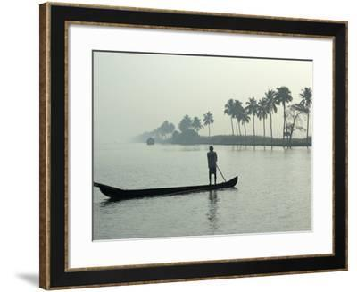 Canoe at Dawn on Backwaters, Alleppey District, Kerala, India, Asia-Annie Owen-Framed Photographic Print