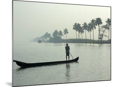 Canoe at Dawn on Backwaters, Alleppey District, Kerala, India, Asia-Annie Owen-Mounted Photographic Print