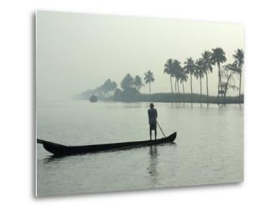 Canoe at Dawn on Backwaters, Alleppey District, Kerala, India, Asia-Annie Owen-Metal Print