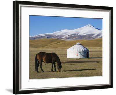 Nomads Horse and Yurt, Bayanbulak, Xinjiang Province, China, Asia-Christian Kober-Framed Photographic Print