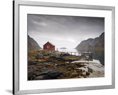 Rorbu and Jetty on Fjord, Lofoten Islands, Norway, Scandinavia, Europe-Purcell-Holmes-Framed Photographic Print