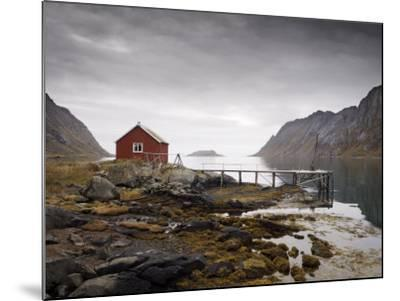 Rorbu and Jetty on Fjord, Lofoten Islands, Norway, Scandinavia, Europe-Purcell-Holmes-Mounted Photographic Print