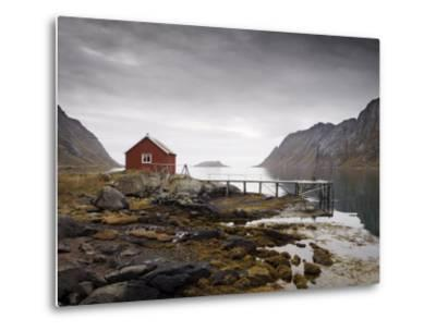 Rorbu and Jetty on Fjord, Lofoten Islands, Norway, Scandinavia, Europe-Purcell-Holmes-Metal Print