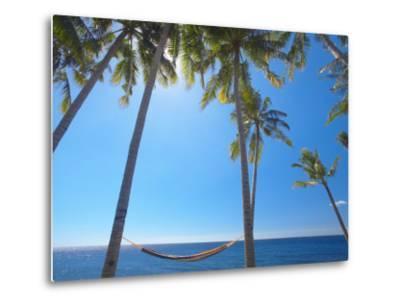 Hammock Between Palm Trees on Beach, Bali, Indonesia, Southeast Asia, Asia-Sakis Papadopoulos-Metal Print