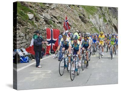 Cyclists Including Lance Armstrong and Yellow Jersey Alberto Contador in the Tour De France 2009-Christian Kober-Stretched Canvas Print