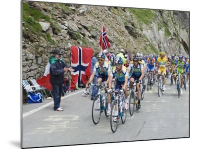 Cyclists Including Lance Armstrong and Yellow Jersey Alberto Contador in the Tour De France 2009-Christian Kober-Mounted Photographic Print