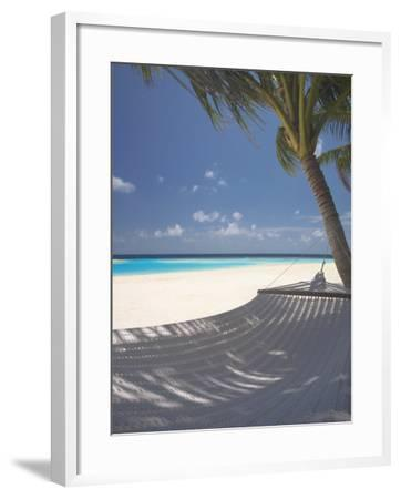 Hammock on Beach, Maldives, Indian Ocean, Asia-Sakis Papadopoulos-Framed Photographic Print