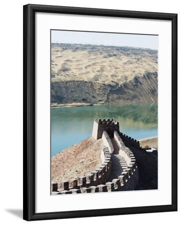 Great Wall of China, and the Yellow River in the Tengger Desert at Shapotou Near Zhongwei-Christian Kober-Framed Photographic Print