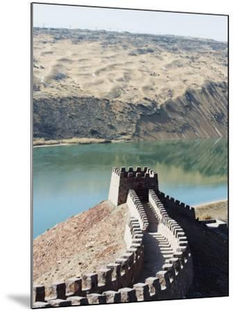 Great Wall of China, and the Yellow River in the Tengger Desert at Shapotou Near Zhongwei-Christian Kober-Mounted Photographic Print