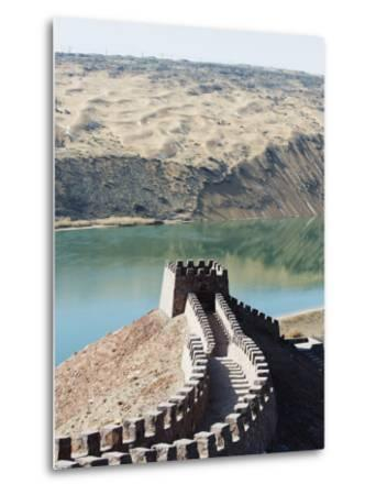 Great Wall of China, and the Yellow River in the Tengger Desert at Shapotou Near Zhongwei-Christian Kober-Metal Print