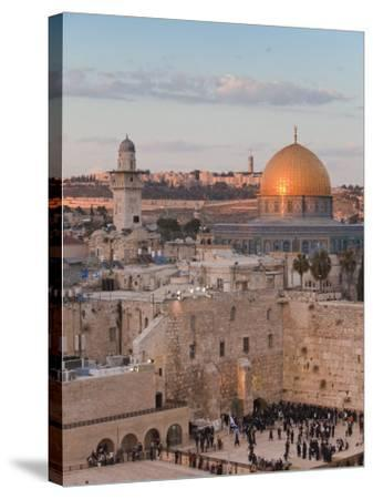 Dome of the Rock and the Western Wall, Jerusalem, Israel, Middle East-Michael DeFreitas-Stretched Canvas Print