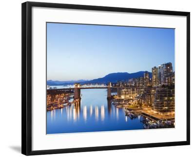 Illuminated Buildings in False Creek Harbour, Vancouver, British Columbia, Canada, North America-Christian Kober-Framed Photographic Print