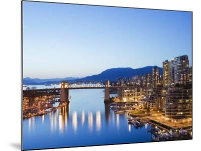 Illuminated Buildings in False Creek Harbour, Vancouver, British Columbia, Canada, North America-Christian Kober-Mounted Photographic Print