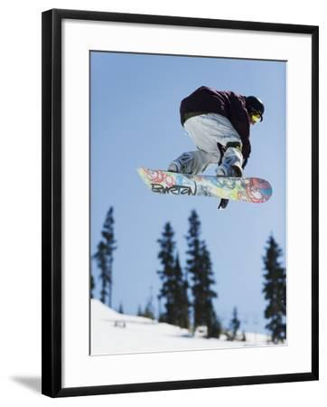 Snowboarder Jumping at Telus Half Pipe Competition 2009, Whistler Mountain-Christian Kober-Framed Photographic Print