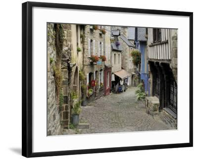 Ancient Cobbled Street and Houses, Rue Du Petit Fort, Dinan, Cotes-D'Armor, Brittany-Peter Richardson-Framed Photographic Print