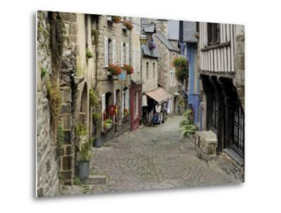 Ancient Cobbled Street and Houses, Rue Du Petit Fort, Dinan, Cotes-D'Armor, Brittany-Peter Richardson-Metal Print