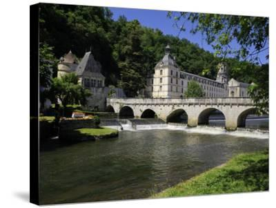 Pont Coud, Dronne River and Abbey, Brantome, Dordogne, France, Europe-Peter Richardson-Stretched Canvas Print