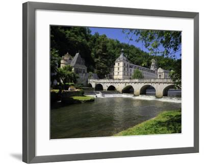 Pont Coud, Dronne River and Abbey, Brantome, Dordogne, France, Europe-Peter Richardson-Framed Photographic Print