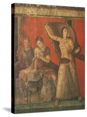 God Pan with Pipe and Female Panisk with Deer, Fresco, Villa of the Mysteries, Pompeii, Italy--Stretched Canvas Print