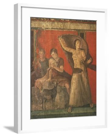 God Pan with Pipe and Female Panisk with Deer, Fresco, Villa of the Mysteries, Pompeii, Italy--Framed Giclee Print