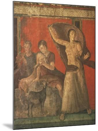 God Pan with Pipe and Female Panisk with Deer, Fresco, Villa of the Mysteries, Pompeii, Italy--Mounted Giclee Print