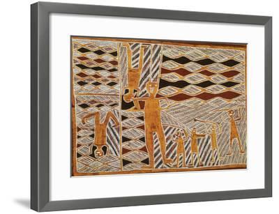 Aboriginal Bark Painting of Ritual Dance, from Yrrkala, Australia--Framed Giclee Print