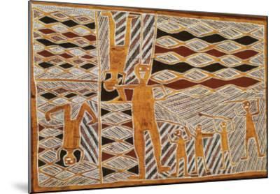 Aboriginal Bark Painting of Ritual Dance, from Yrrkala, Australia--Mounted Giclee Print