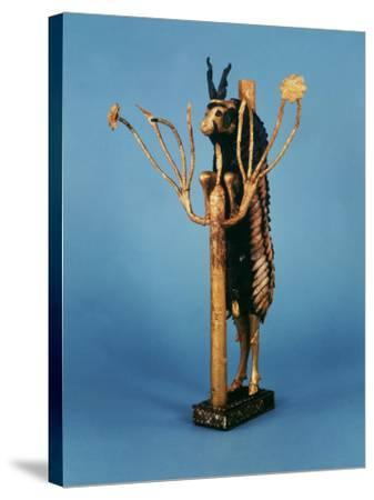 Goat in Thicket, Statuette of Gold, Copper, Lapis Lazuli, Red Limestone and Shell, Sumerian Ur--Stretched Canvas Print
