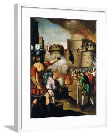 Saint Ignatius Loyola, 1491-1556 Founder of Jesuit Order, at the Siege of Pampeluna--Framed Giclee Print