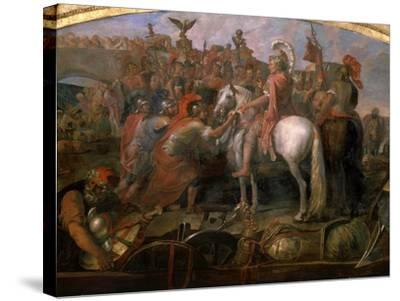 Julius Caesar, 100-44 BC Roman general, Sending Roman Colony to Carthage-Claude Audran the Younger-Stretched Canvas Print