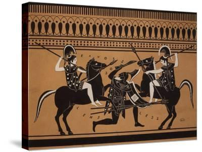 Amazons Fighting, Engraving from Greek Vases Conserved at Leyden, Holland, 19th century--Stretched Canvas Print