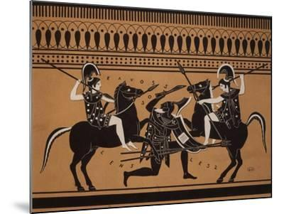 Amazons Fighting, Engraving from Greek Vases Conserved at Leyden, Holland, 19th century--Mounted Giclee Print
