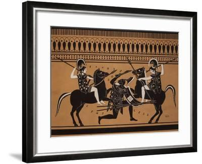 Amazons Fighting, Engraving from Greek Vases Conserved at Leyden, Holland, 19th century--Framed Giclee Print