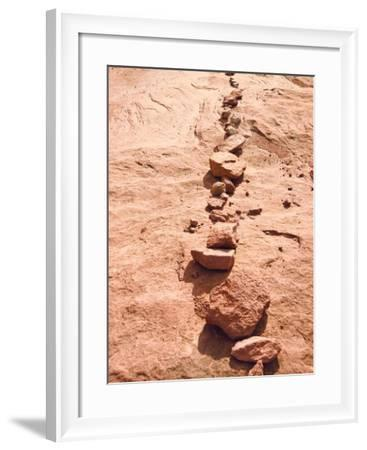 Row of Red Rocks on Red Sand-Rob Lang-Framed Photographic Print
