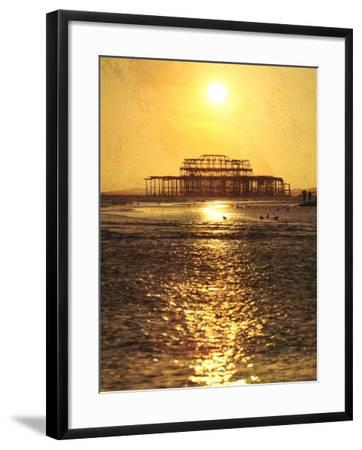 Sun over Ruin of West Pier, Brighton, Sussex, England-Neil Overy-Framed Photographic Print