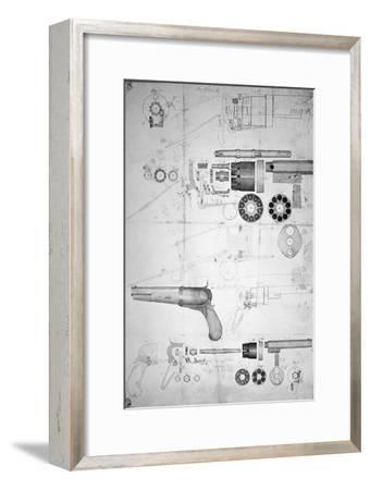 Original Plans for a Ten-chamber Revolver which Later Became the Six-chamber Patented in 1836-Samuel Colt-Framed Giclee Print