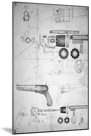 Original Plans for a Ten-chamber Revolver which Later Became the Six-chamber Patented in 1836-Samuel Colt-Mounted Giclee Print