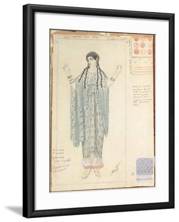 Lady-in-waiting, Costume Design for 'Hippolytus' by Euripides-Leon Bakst-Framed Giclee Print