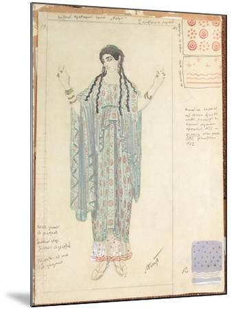 Lady-in-waiting, Costume Design for 'Hippolytus' by Euripides-Leon Bakst-Mounted Giclee Print
