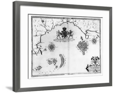 Map No.5 Showing the route of the Armada fleet, engraved by Augustine Ryther, 1588-Robert Adams-Framed Giclee Print