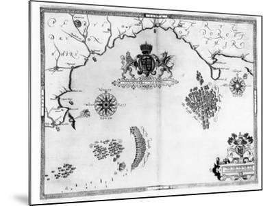 Map No.5 Showing the route of the Armada fleet, engraved by Augustine Ryther, 1588-Robert Adams-Mounted Giclee Print