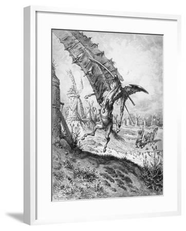 Don Quixote and the Windmills, from 'Don Quixote de la Mancha' by Miguel Cervantes-Gustave Dor?-Framed Giclee Print